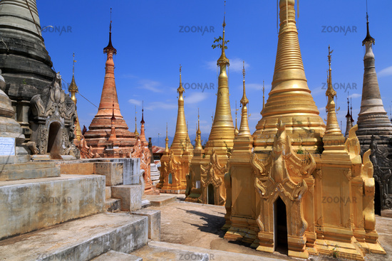 Some of the 1054 pagodas of the Indein pagoda forest at Inle Lake