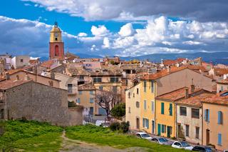 Saint Tropez village church tower and old rooftops view, famous tourist destination on Cote d Azur