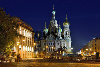 Church Savior on Blood in St-Petersburg, Russia.  Night view.