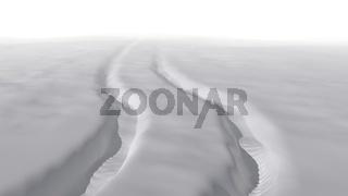 Snow landscape car jeep trail 3d illustration