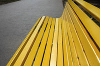 Yellow wooden bench
