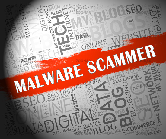 Malware Scammer Security Shield Safety 2d Illustration