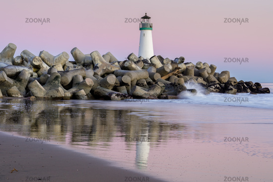 Twilight over Breakwater (Walton) Lighthouse as seen from Seabright Beach.