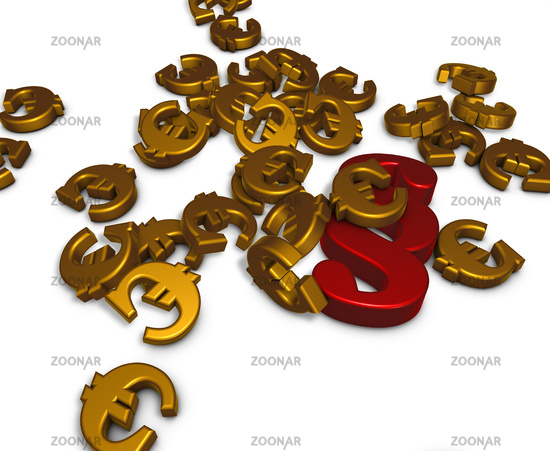 Euro symbols and a paragraph symbol on white background - 3d rendering