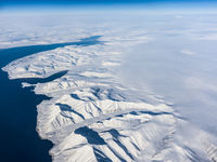 View of the Arctic ice from the plane, the expanses of the Arctic.