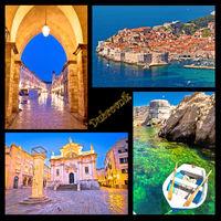 Dubrovnik postcard collage landmarks with label