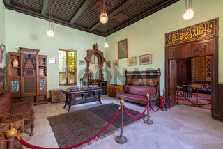 Manial Palace of Prince Mohammed Ali. Ceremonies Room with vintage furniture, Cairo, Egypt
