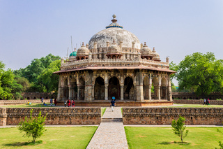 View on Tomb of Isa Khan near Mausoleum of Humayun Complex. UNESCO World Heritage in Delhi, India. Asia.
