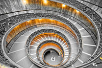 Vatican vortex stairs black and white view from above