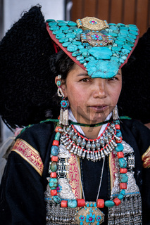 Young ethnic India woman on festival in Ladakh