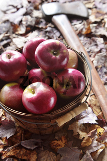 Apples in basket with axe