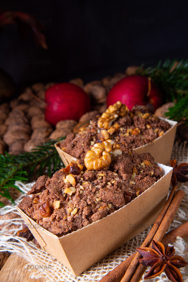 delicious apple chocolate cake with hazelnuts