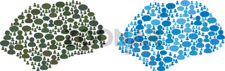 Spot Simple Collage Icons of Chat Clouds and Men