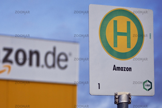 Amazon bus stop, logistics center, one of the largest locations in Europe, Rheinberg, Germany