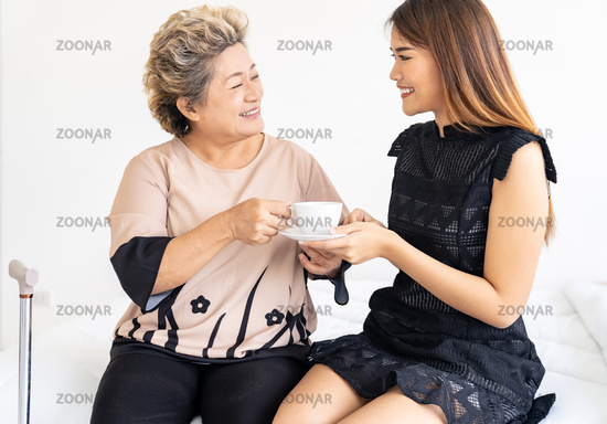 caregiver prepare coffee for patient
