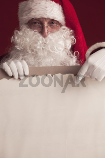 Santa Claus with vintage paper
