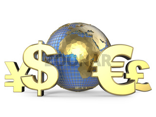 Gold currency symbols around the globe. 3D