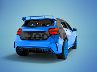 The modern sports car is blue gray 3d rendering not blue background with shadow