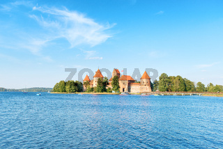 Trakai castle on island lake