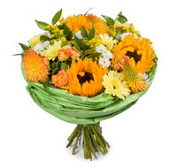 Colorful flower bouquet arrangement centerpiece isolated on white. bouquet made of Alstroemeria, Gerber, Rose and Chrysanthemum flowers isolated on white