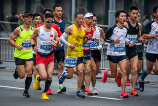 Athletes running at the Chengdu marathon