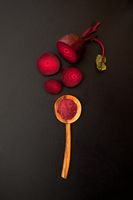 Top view of Beetroot Powder in wooden spoon