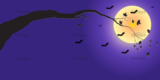 Silhouette of a tree branch and bats in the moonlight