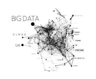 Big data concept in word tag cloud with plexud dot and line connection. Vector geometric background