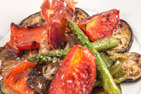 Grilled vegetables with tomatoes, asparagus, peppers, zucchini and aubergine