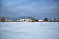 Winter view from Siversky lake on Kirillo-Belozersky monastery