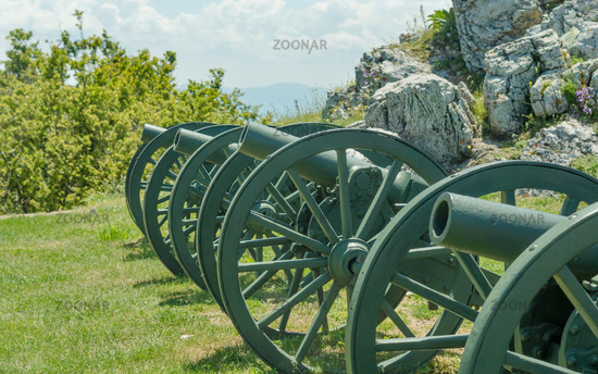 Old metal cannon. Shipka, Gabrovo, Bulgaria. The Shipka Memorial is situated on the peak of Shipka i