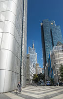 street scene downtown frankfurt, silver tower, gallileo tower (commerzbank ), maintower