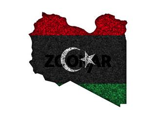 Karte und Fahne von Libyen auf Mohn - Map and flag of Libya on poppy seeds