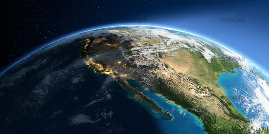 Detailed Earth. Gulf of California, Mexico and the western U.S. states