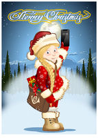 Christmas card with cartoon Snow Maiden - Postman