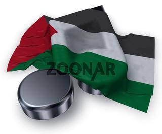 musiknote und flagge von palästina - 3d rendering