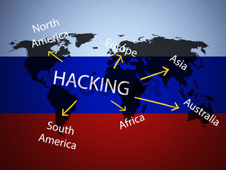 Hacking Map Over Russian Flag 3d Illustration
