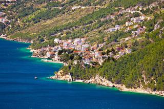 Village of Pisak in Makarska riviera coastline view