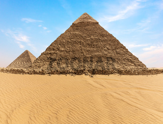 The Pyramid of Khafre and the Pyramid of Cheops, Giza, Egypt