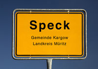 City entrance sign of Speck, district of the municipality Kargow, Germany, Europe