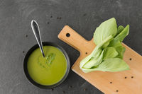 bok choy chinese cabbage cream soup in bowl
