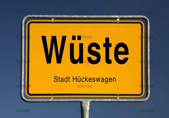 Entrance sign of Wueste, district of the city Hueckeswagen, Oberbergischer Kreis, Germany, Europe