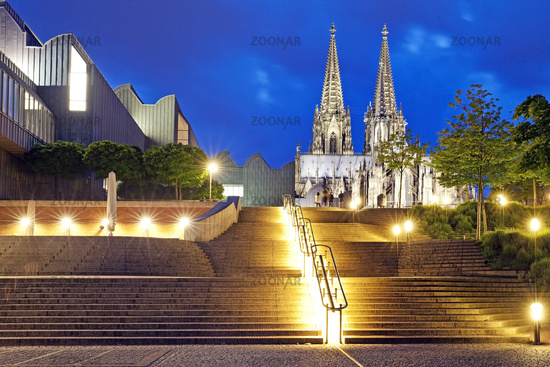 illuminated stairs, Museum Ludwig and Cologne Cathedral in the evening, Cologne, Germany, Europe