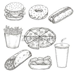 Fast food menu design set hand drawn vector