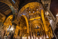 Interior of the Palatine Chapel of Palermo, Sicily, Italy