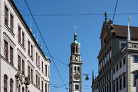 Tower of St. Peter and townhall in Augsburg