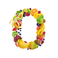 Letter O made of different fruits and berries, fruit alphabet isolated on white background