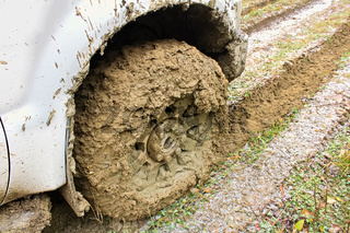 The wheel of a vehicle incased in mud