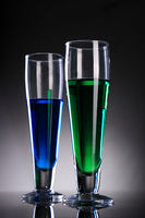 Green and Blue Glasses with Juice / Cocktail / Drink