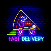 Pizza fast delivery - Neon Sign Vector on brick wall background